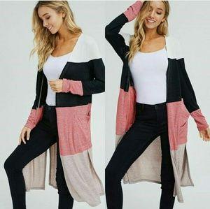 Sweaters - ELLIE Striped cardigan - BLACK / TAUPE